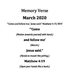 March 29 - Preschool Verses