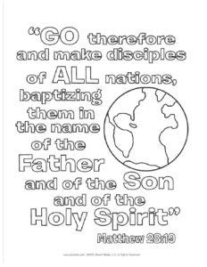 April Week 4 - Matthew 28:19 Coloring Page