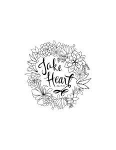 April Week 3 - Take Heart Coloring Page