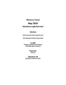 May Week 3 - Pre K Memory Verse