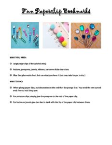 May Week 2 Mother′s Day - Fun Paper Clip Bookmarks