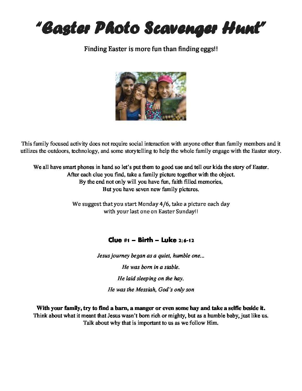 April Week 1 - Easter Family Scavenger Hunt