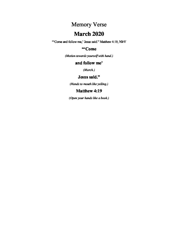 March Week 5 - Memory Verse