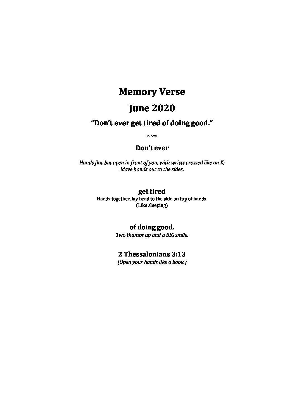 June Week 2 - Pre-K Memory Verse