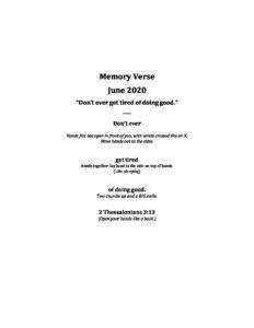 June Week 1 - Pre-K Memory Verse
