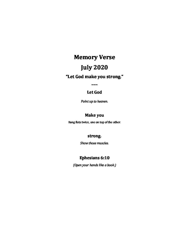July Week 2 - Pre-K Memory Verse