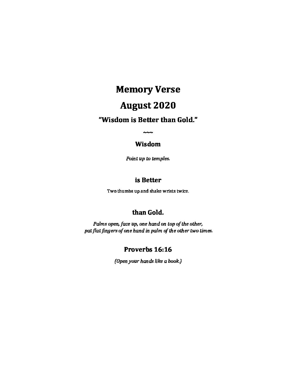 August Week 1 - Memory Verse